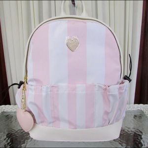 Baby Pink betsy Johnson striped school backpack